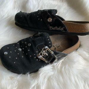 Birkenstock's Betula Black Suede Jeweled Clogs